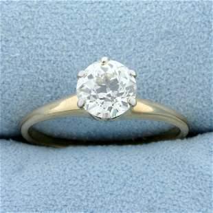 Antique Over 1ct Old European Solitaire Diamond
