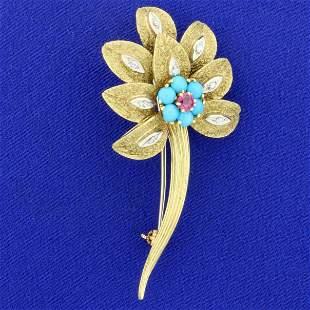 Vintage Designer Turquoise, Ruby, and Diamond Flower