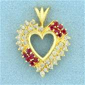 1ct TW Ruby and Diamond Heart Pendant in K Yellow Gold