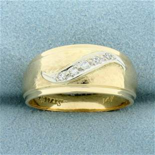 Waive Design Diamond Band Ring in 14K Yellow and White