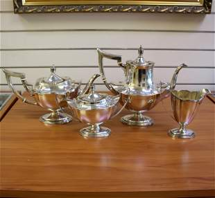 Antique Gorham Plymouth 4-Piece Tea and Coffee Set in