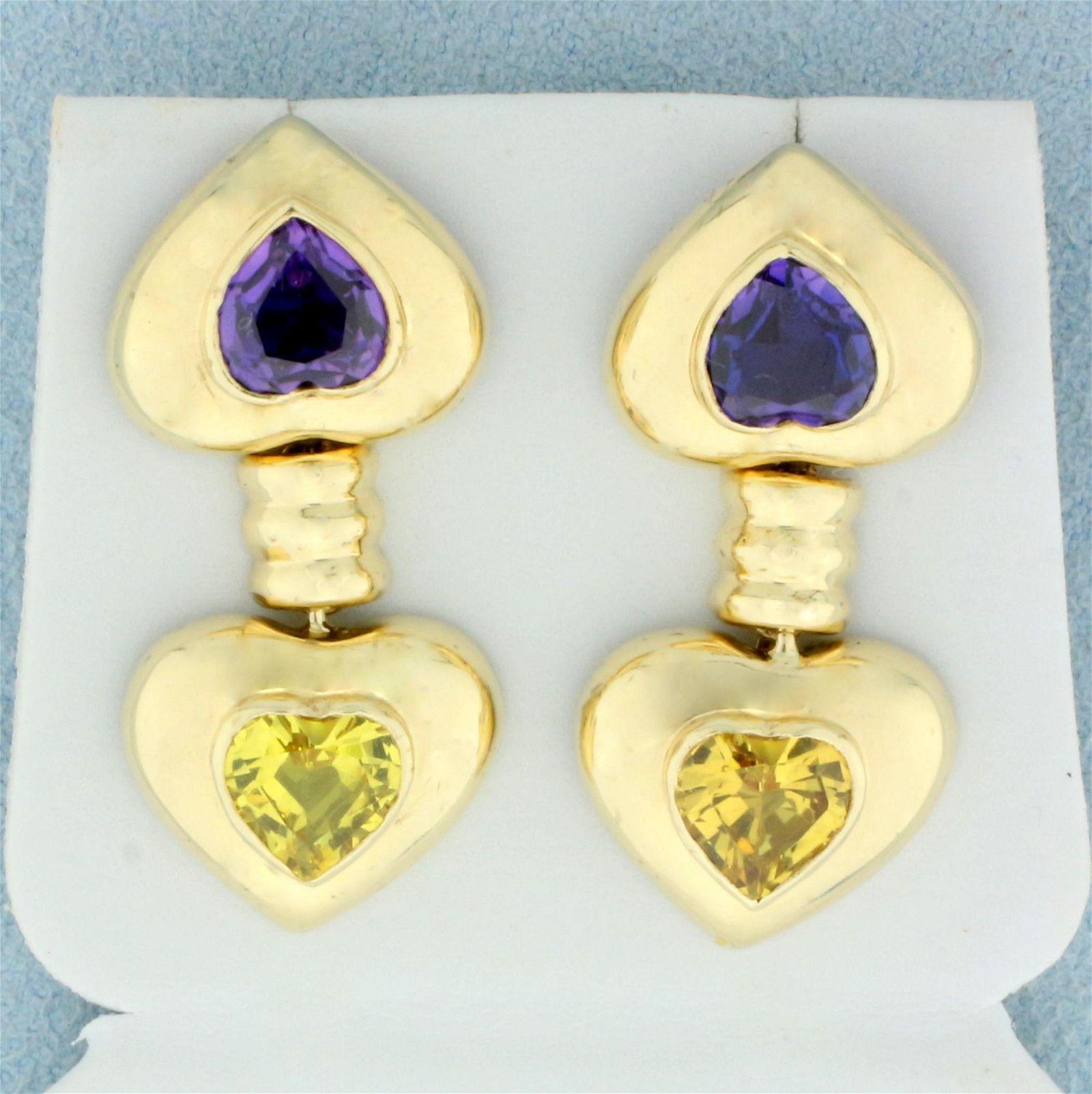 5ct TW Purple and Yellow Sapphire Dangle Heart Earrings