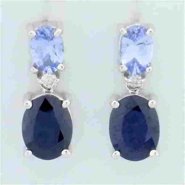 4ct TW Sapphire and Diamond Dangle Earrings in 14K