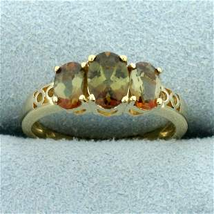2ct TW Andalusite Three-Stone Ring in 14K Yellow Gold