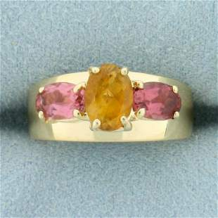 Citrine and Morganite Three Stone Ring in 14K Yellow
