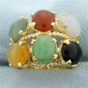 Jade Multi-Color Statement Ring in 14K Yellow Gold