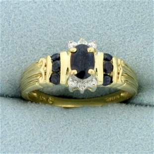 3/4ct TW Sapphire and Diamond Ring in 10K Yellow Gold