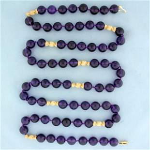 36 Inch Amethyst Bead Necklace in 14K Yellow Gold
