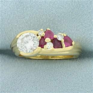 2ct TW Ruby and Diamond Custom Designed Ring in 18K