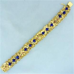 Designer Ruby and Lapis Lazuli Flower Design Bracelet