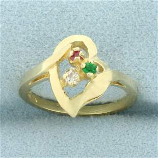 Emerald, Ruby, and White Sapphire Heart Ring in 14K