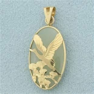 Heron Bird Jade Pendant in 14K Yellow Gold