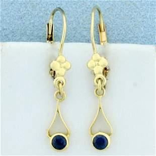 Sapphire Dangle Earrings in 14K Yellow Gold