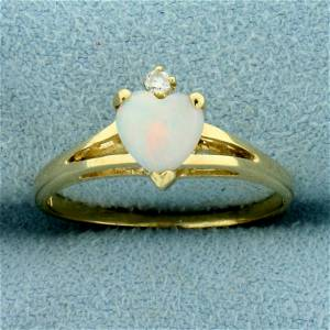 Heart Opal and Diamond Ring in 14K Yellow Gold