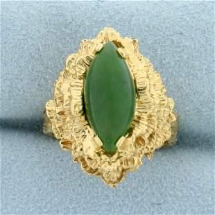 Designer 3ct Natural Jade Ring in 14K Yellow Gold
