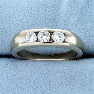 Mens 3/4ct TW Diamond Three-Stone Wedding or