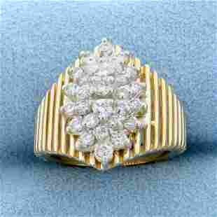 1ct TW Diamond Cluster Ring in 14K Yellow Gold