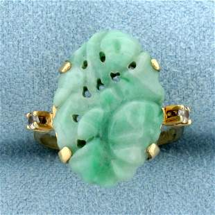 Hand Carved Jade and White Sapphire Statement Ring in