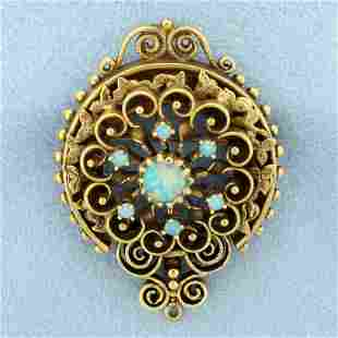 Antique Opal Pendant or Pin in 14K Yellow Gold