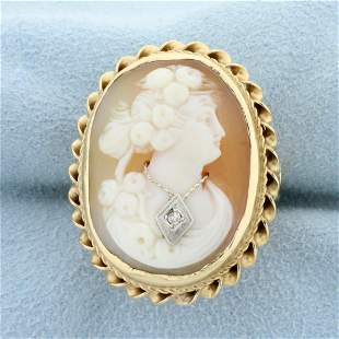 Diamond Cameo Ring in 14K Yellow and White Gold