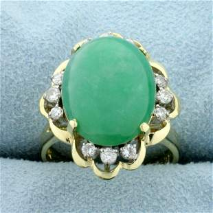 11ct Jade and Diamond Ring in 14K Yellow Gold