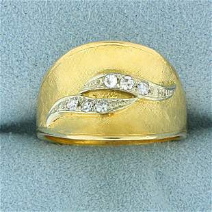 Wave Design Diamond Ring in 18K Yellow and White Gold