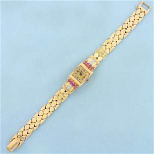Vintage Ladies Ruby and Diamond Perfecta Watch in Solid