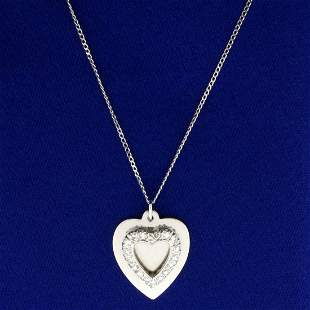 1/3ct TW Diamond Heart Pendant with Chain in 14K White