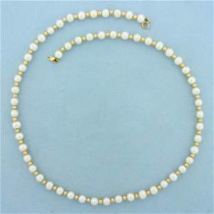 Gold Bead and Pearl Necklace in 14K Yellow Gold