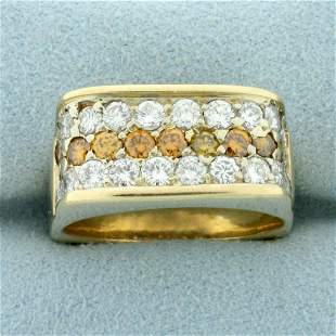 2ct TW Cognac and White Diamond Ring in 14K Yellow Gold