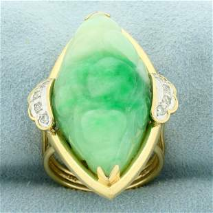 Hand Carved 40ct Jade and Diamond Statement Ring in 14K
