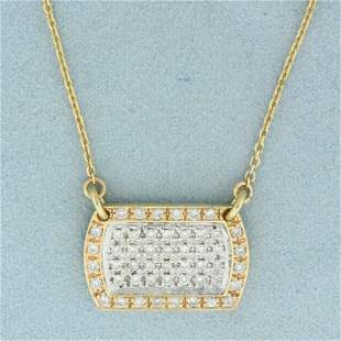 1ct TW Pave Set Diamond Necklace In 14K Yellow and