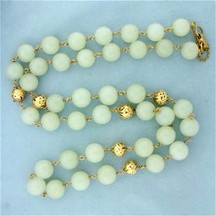 Ming's Hawaii Jade and Gold Bead Necklace 33 Inches in