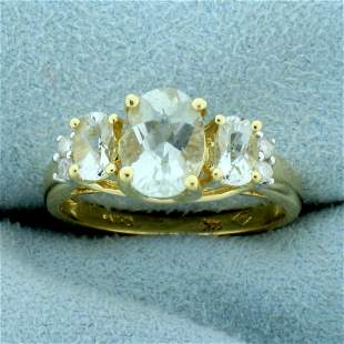 2ct TW Aquamarine and Diamond Ring in 14K Yellow Gold