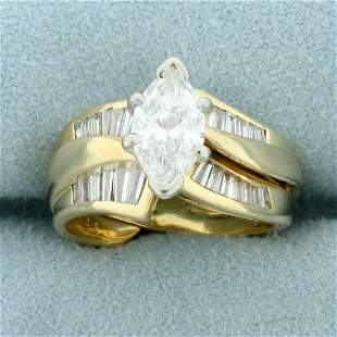2ct TW Marquise Diamond Engagement Ring in 14K Yellow