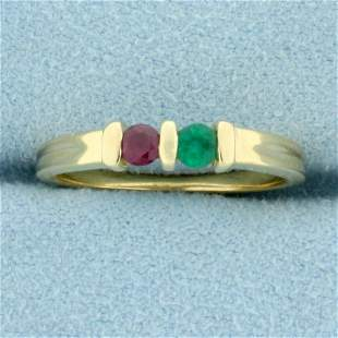 Emerald and Ruby Two Stone Ring in 14K Yellow Gold