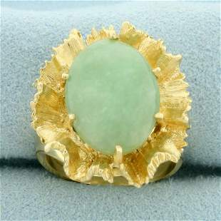 7ct Jade Statement Ring in 14K Yellow Gold
