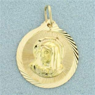 Virgin Mary Pendant in 14K Yellow Gold