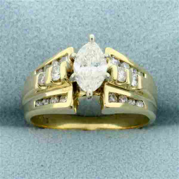 Vintage 1ct TW Marquise Diamond Engagement Ring in 14K