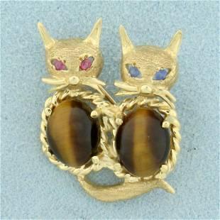 Tigers Eye Siamese Cat Pin in 14K Yellow Gold