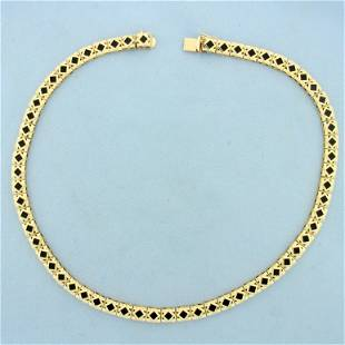 Vintage Onyx Necklace in 14K Yellow Gold