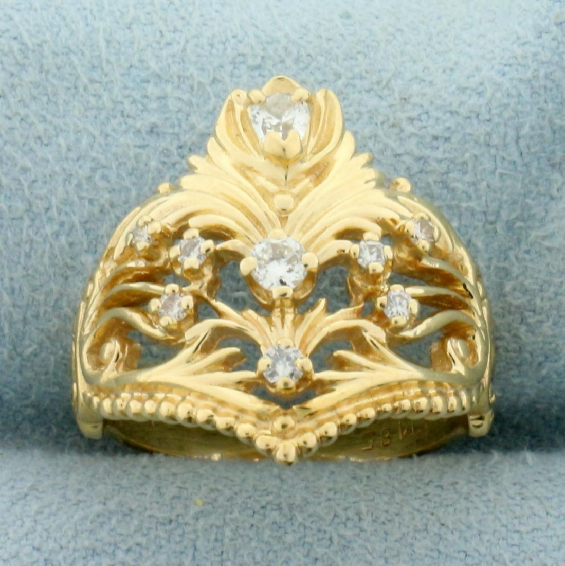 Unique Vintage 1/3ct TW Diamond Ring in 14K Yellow Gold