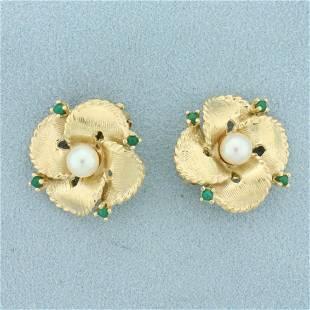 Emerald and Akoya Pearl Flower Clip On Earrings in 14K