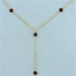 19 Inch Garnet Chain Necklace in 14K Yellow Gold