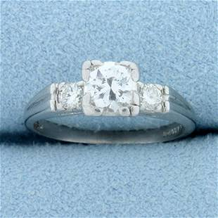 Vintage .8ct TW 3 Stone Diamond Engagement Ring in