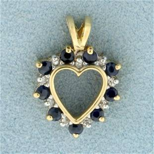 Sapphire and Diamond Heart Pendant in 14K Yellow Gold