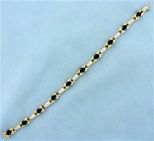 5ct TW Sapphire and Diamond Tennis Bracelet in 14K