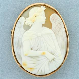 Vintage Large Angel Cameo Pin In 10k Rose Gold