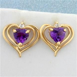 Amethyst and Diamond Heart Earrings in 14K Yellow Gold