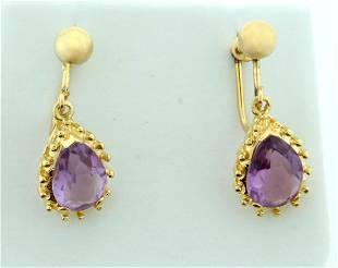 Vintage Screw Back Amethyst Dangle Earrings in 14k Gold